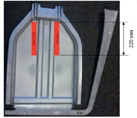 Eprouvettes prélevées de 30 x 220 mm dans les dossiers de sièges.