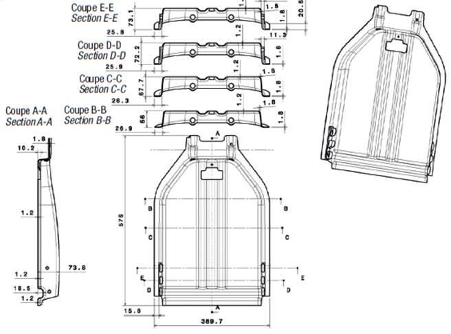 Plan du siège en aluminium pièce mince.