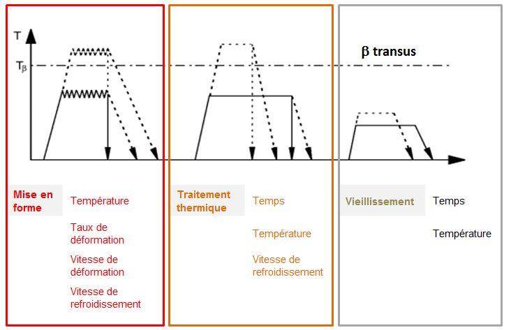 Traitements thermomécaniques des alliages de titane forgés.
