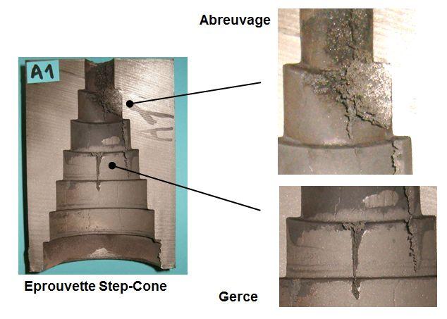 Abreuvage et gerces sur une éprouvette step-cone de CTIF.