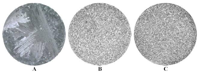 AlSi7Mg sans affinage gauche - affinage AT5B classique centre - affinage nanométrique a droite.