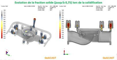Co-design - Vue de solidification de la grappe de pièce avec son système de remplissage.