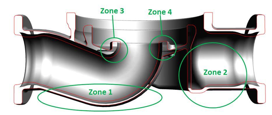 Co-design - Pompe - étude de moulage - 4 zones critiques de pièce.