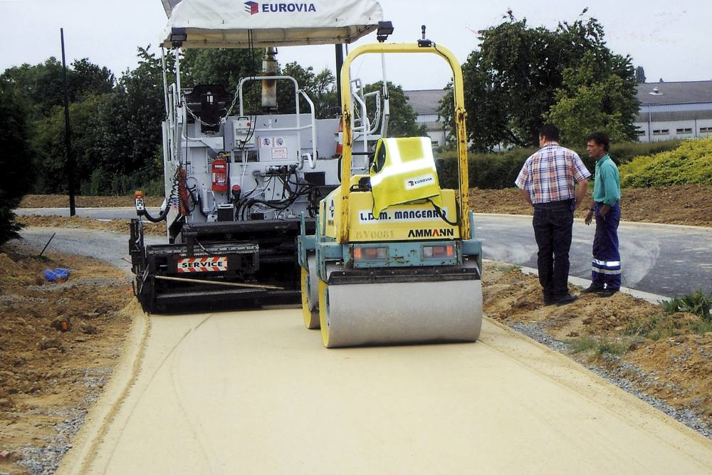 Utilisation de sable recyclé sur un chantier de chemin par la ville