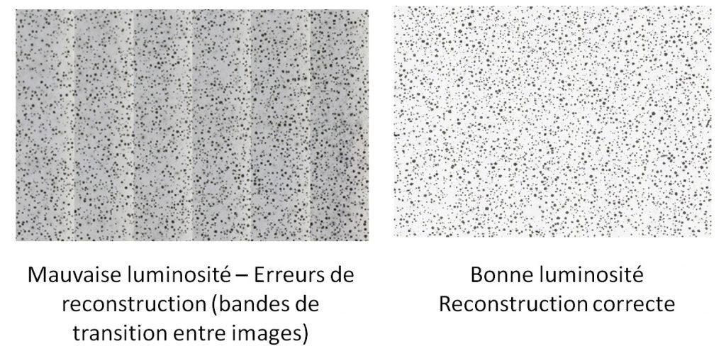 Importance de la luminosité - erreurs de reconstruction possible.
