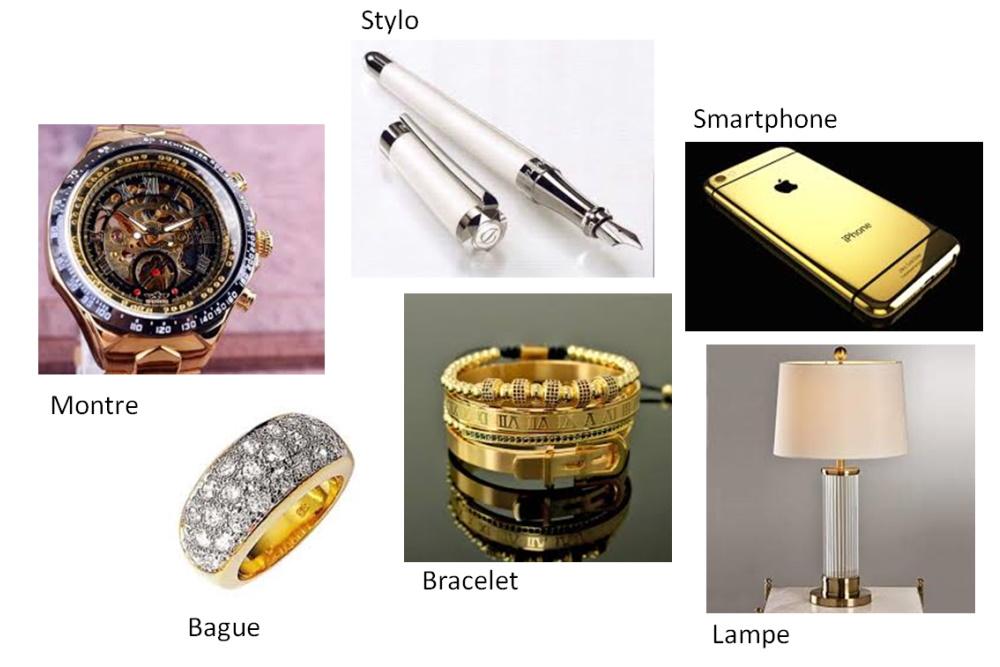 Les différents objets de luxe en métal précieux.