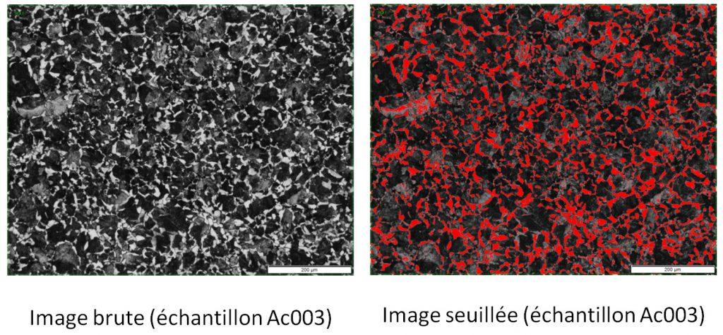 Analyse d'images sur échantillon en acier avec 25 % de ferrite.