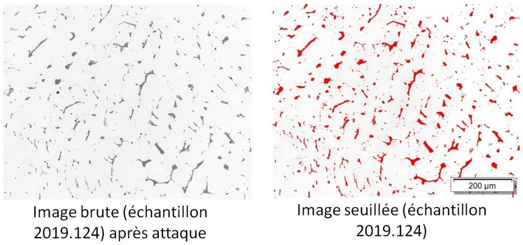 Analyse d'images sur échantillon en acier avec 4.4 % de ferrite.