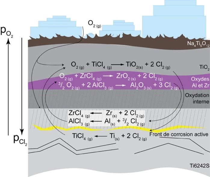 Mécanismes d'oxydation de l'alliage Ti6242S en présence de dépôts solides de NaCl ou Na2SO4.