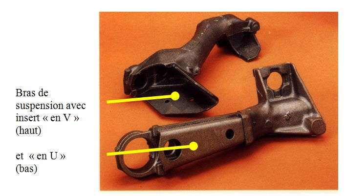 Bras de suspension en fonte avec insert en U et en V.