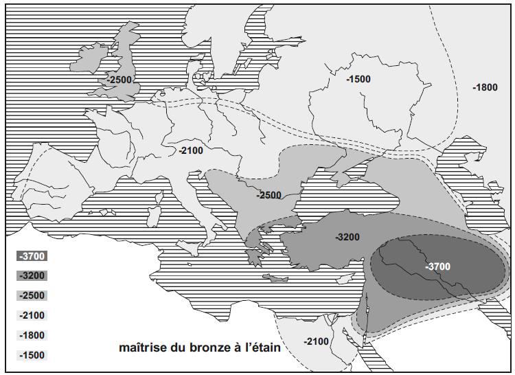 Evolution de la maitrise du bronze depuis la Mésopotamie jusqu'en Europe.