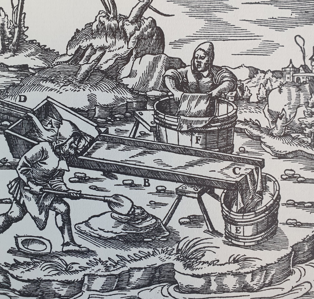 Exploitation de l'or d'une riviere - De Re Metallica de Georgius Agricola.