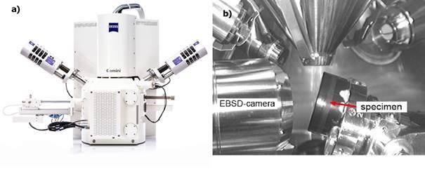 Figure 1 : a) MEB à émission de champ ZEISS Sigma 300 VP ; b) Vue de l'intérieur de la chambre du MEB avec l'insertion de la caméra EBSD et l'échantillon incliné à 70°.