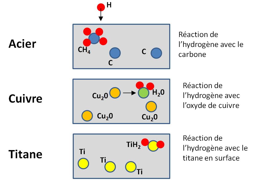 Mécanismes de fragilisation par l'hydrogène de l'acier du cuivre et du titane.