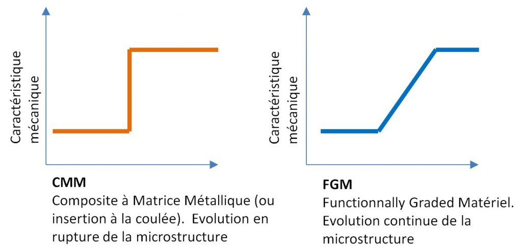 CMM et FGM - évolution brutale et en continue de la microstructure.