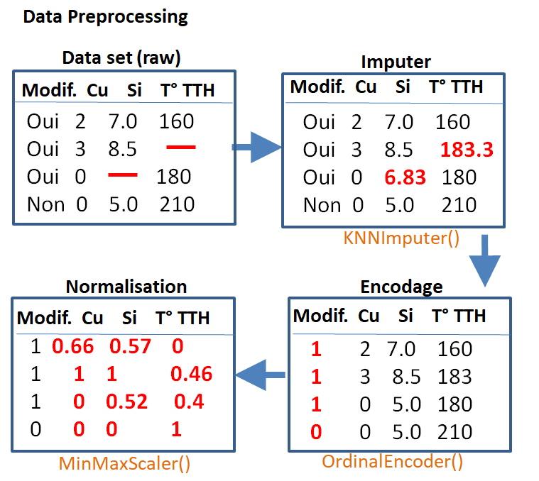 Data preprocessing encodage normalisation.