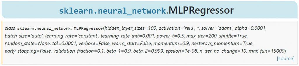 Hyperparamètres du modèle MLPRegressor de Scikit Learn.