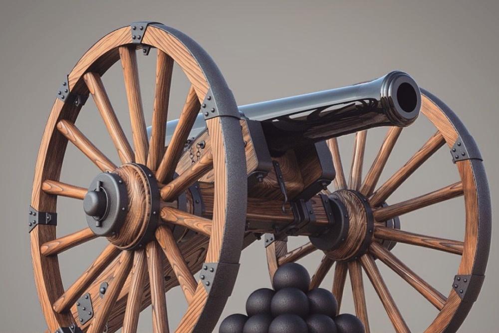 Canon des guerres Napoléonienne avec boulets.